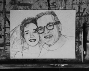 Pencil Portrait of the Artist + His Wife