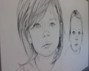 Oversize Charcoal Portrait of Two Girls