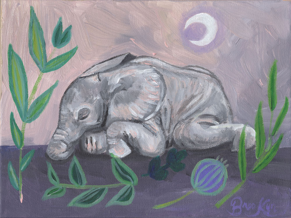 "Original artwork by Brooklyn Lamb. Acrylic painting depicting a sleeping elephant surrounded by floral beauty in her series, ""What Do the Creatures Dream?"" Painted onto a gallery wrapped canvas (9x12"")"