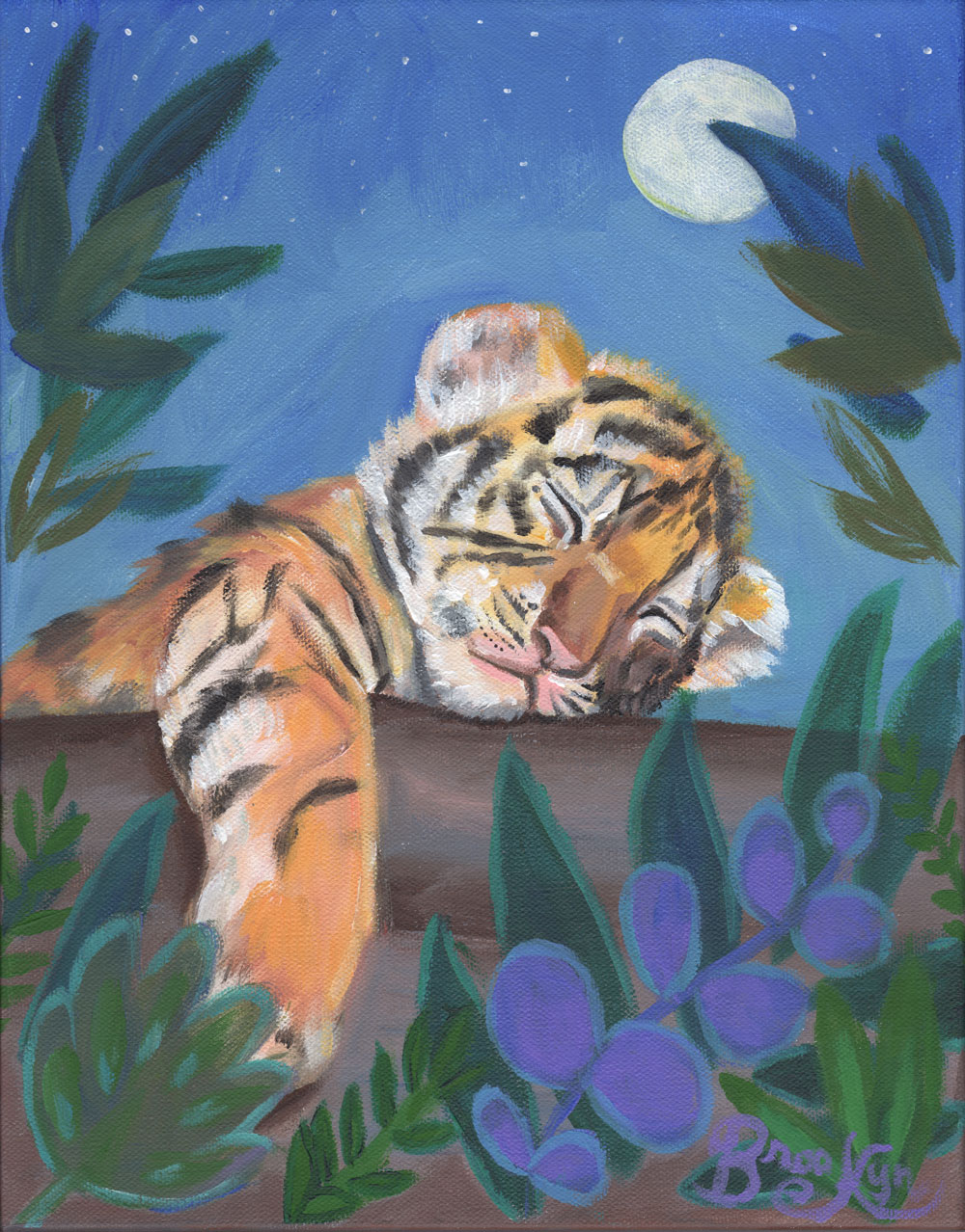 """Original artwork by Brooklyn Lamb.  Acrylic painting depicting a sleeping baby tiger surrounded with floral beauty and a big white moon in her series, """"What Do the Creatures Dream?""""  Painted onto a gallery wrapped canvas (11x14"""")"""